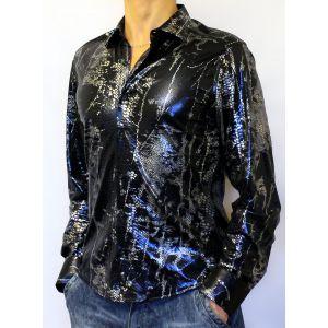 Серебристо-черно-синяя блестящая рубашка